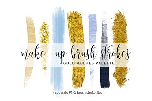 Brush Strokes Clipart - gold & blues