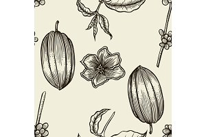 Cocoa hand drawn seamless pattern