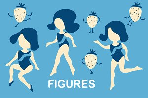 Retro women figures set and patterns