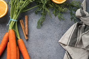 Background with ingredients for healthy carrot smoothie