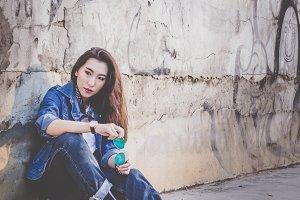 The skateboarding girl style