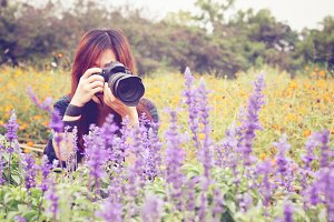 Taking photos in flower feild