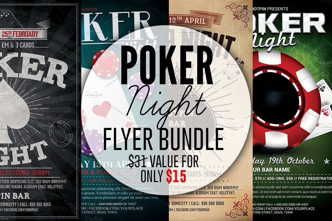 Poker Night Flyer Template Bundle
