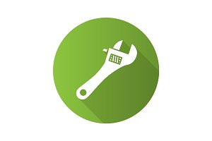 Adjustable wrench flat design long shadow glyph icon
