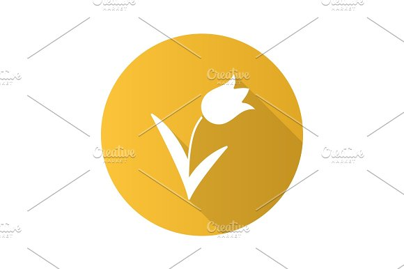 Tulip Flat Design Long Shadow Glyph Icon