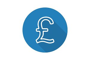 Pound flat linear long shadow icon