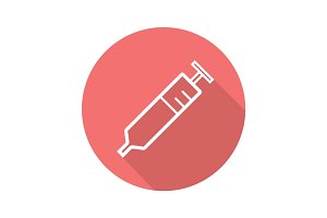Syringe flat linear long shadow icon