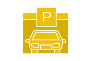 Parking place glyph color icon