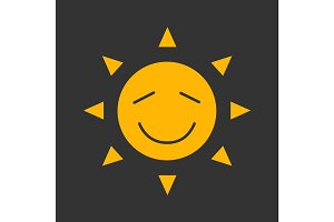 Happy sun smile glyph color icon