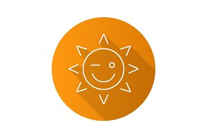 Winking sun smile flat linear long shadow icon