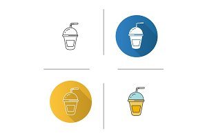 Refreshing soda drink icon