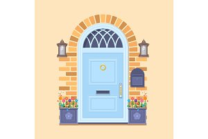 Blue front door on the yellow brick wall with two pots with plants and lanterns. Vector building element. Cartoon house illustration