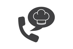 Food phone order glyph icon