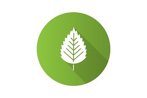 Birch leaf flat design long shadow glyph icon