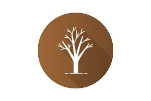 Tree without leaves flat design long shadow glyph icon