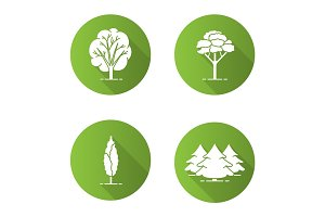 Trees flat design long shadow glyph icons set