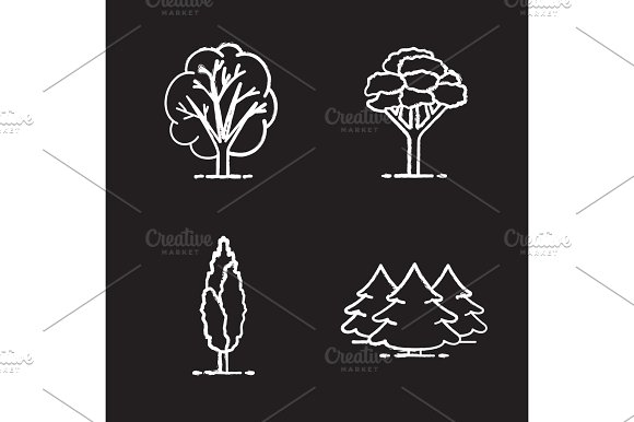 Trees Chalk Icons Set