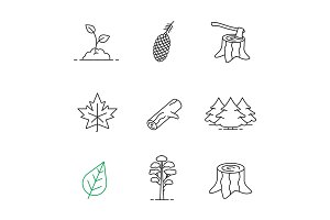 Forestry linear icons set