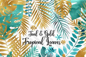 Teal and Gold Tropical Leaves