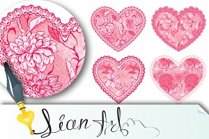 Set of 4 Pink fine lace hearts