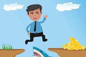 Businessman jumping cliff gap