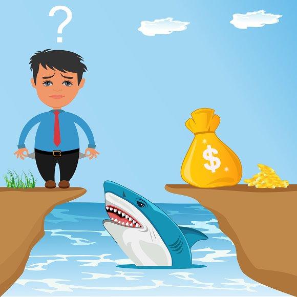 Businessman Worry How To Cross Gap