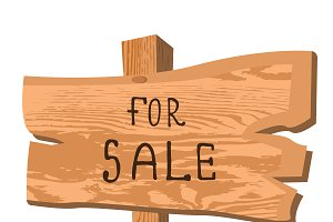 wooden sign for sale, vector