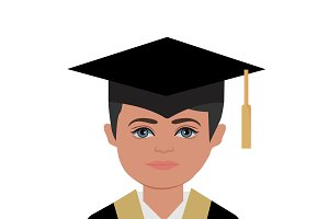 graduation, man, vector illustration
