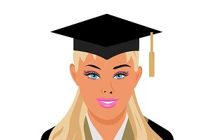 graduation, female, vector