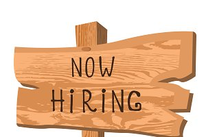 wooden sign now hiring