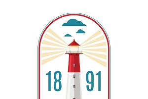 Marine lighthouse vector