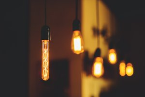 Edison lamps hang