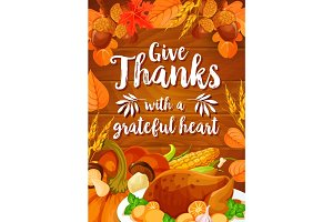 Thanksgiving Day dinner banner on wood background