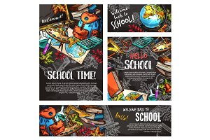 Back to school chalkboard banner template set