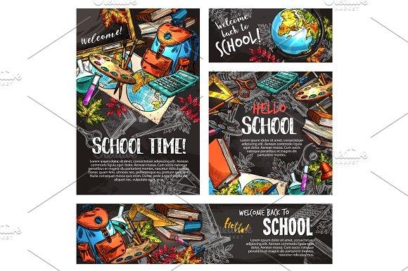Back To School Chalkboard Banner Template Set