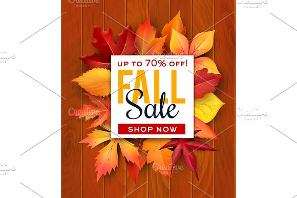 Autumn Sale Foliage Leaf Vector Poster Web Banner