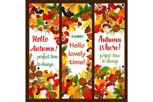 Autumn leaf banner with fall season nature frame