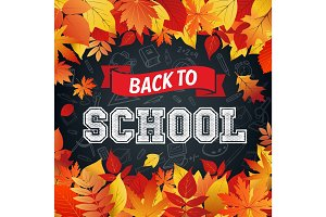 Back to School poster of vector leaf fall