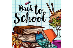 Back to School sketch vector stationery poster