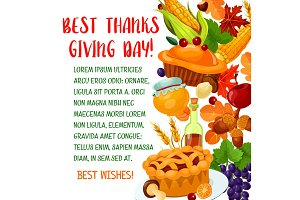 Thanksgiving Day poster with autumn harvest symbol
