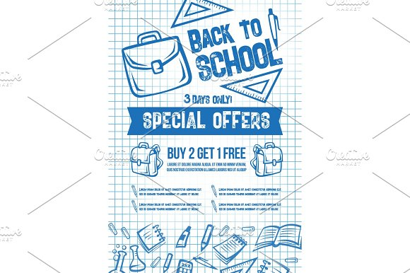 Back To School Vector Sale Offer Poster