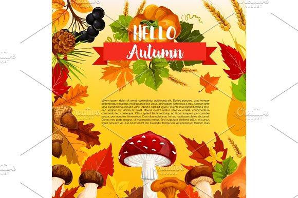 Autumn Acorn Leaf Pumpkin Vector Greeting Poster