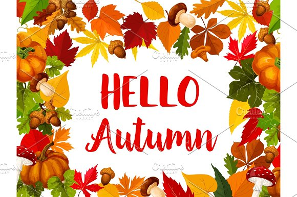 Hello Autumn Greeting Card With Fall Nature Frame
