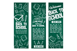 Back to School vector banners set