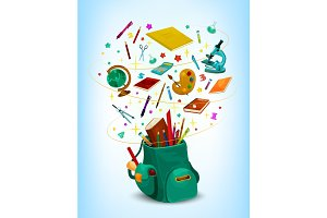 Back to School vector rucksack poster