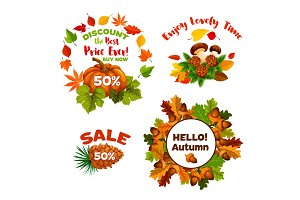 Autumn sale discount shopping vector icons set