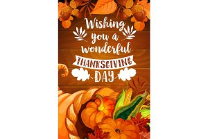 Thanksgiving cornucopia on wood background poster