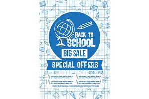 Back to School vector sale special offer poster
