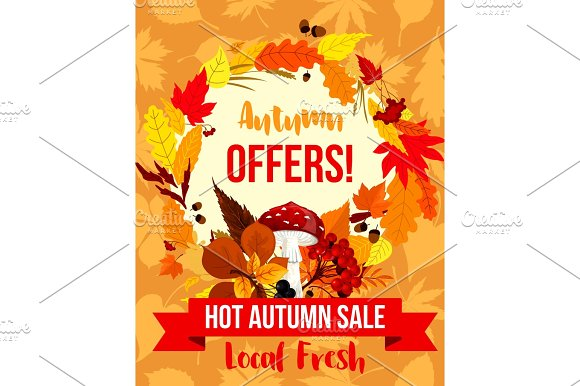 Autumn Sale Special Offer Poster Template Design