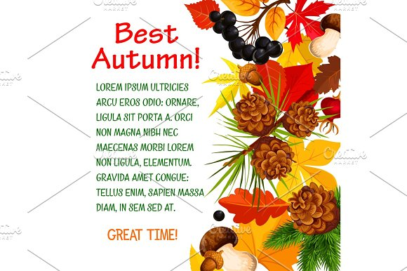 Autumn Poster Template Of Fall Forest Nature